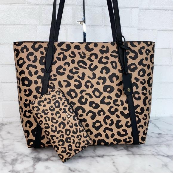 Kate Spade Large Leopard Tote & Wallet Set